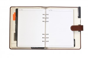 Leather organizer on white background, with paths